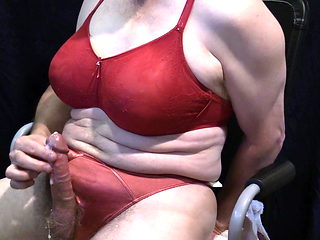 Crossdress Cumshot - Red Bra and Panty