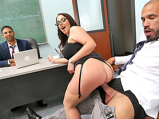 Huge boobs teacher Angela White fucked by a horny student
