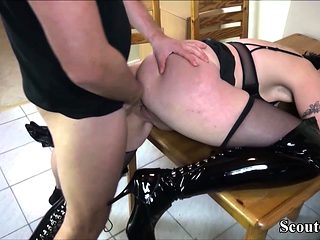 Freaky Grandma Seduce Step-Son of Daughter to Fuck