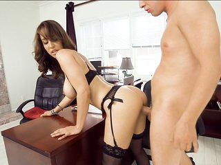 Bitchy bosslady calmed by the cock