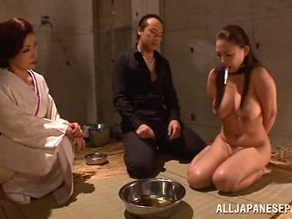 Big boobed Japanese AV model plays slave and gives a hot headfuck