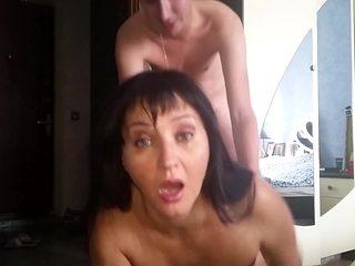 Russian mature mom sucked her boy in bedroom