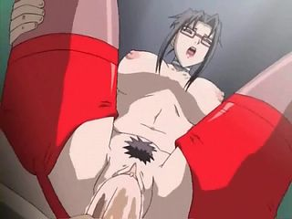 Anime babe in red stockings filled by a big cock