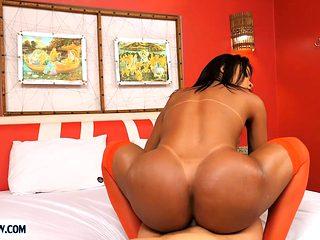 Big round ass latina tranny Erika Lee bareback anal sex