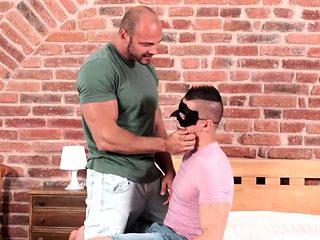 Bald stud bang's masked friend's ass
