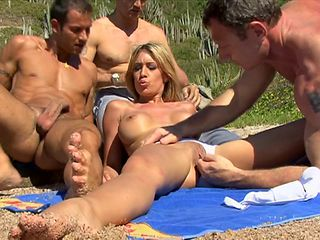 Lucky babe called Lea enjoys her first outdoors double penetration