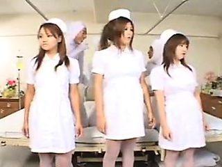 Hot asian nurses in group sex scene