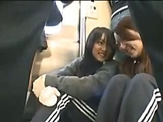 JPN Handjob on a Public Train