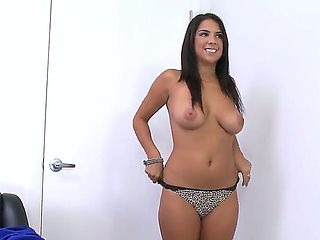 Sweet and young brunette with fuckable, appetizing body, named Evi Fox, came for a casting