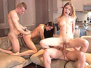 Edward & Brian & Aziza & Isabel Stern in Foursome Swinger Fuck Party - YoungSexParties