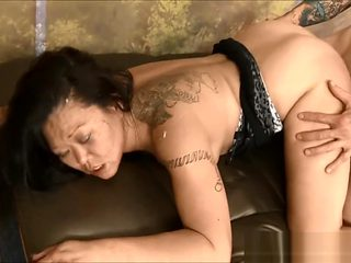 Asian MILF bitch Jeanna Silks throat and cunt abused hard