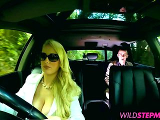 Hot blonde milf Angel joins the backseat fun with Jimena
