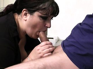 Busty secretary spreads legs for boss