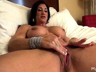 Nude Female Bodybuilder Rubs Her Big Clit