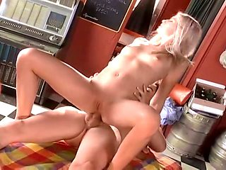 Cute Blonde Takes On Two Hard Cocks