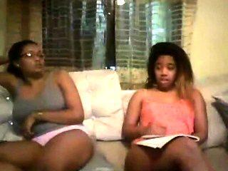 Amateur ebony girlfriends try lesbian pleasures