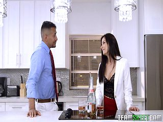 Hot sex session in a kitchen with an alluring brunette woman