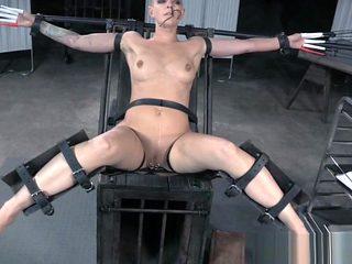Tattooed bald sub with pierced cunt