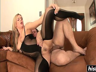 Sexy blonde in stockings gets fucked
