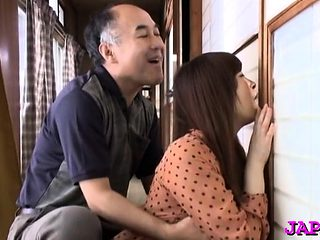 Appealing oriental older gets her nice tits played with