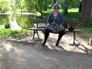Hairy mature flashing in the park