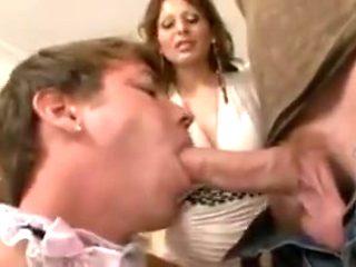 Sissy maid sucks cock