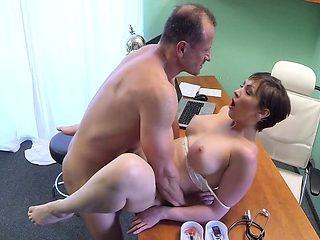 Doctor creampied busty brunette