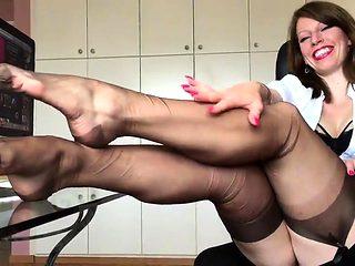 hot short nylon fetish clip from me anett larmann