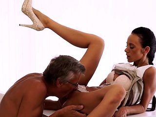 OLD4K. Hot sex is how old boss and his worker relax...