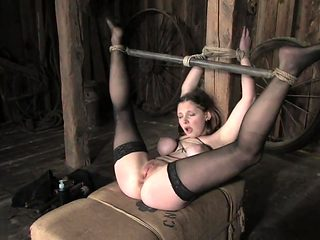 19yr old Sara Scott in extreme bondage, pussy fingered and fucked with 3 di
