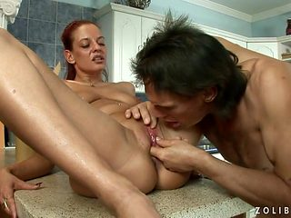 Teen cutie takes dudes cum loaded pole in her hot mouth