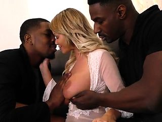 Blonde meets with 2 black men for sex