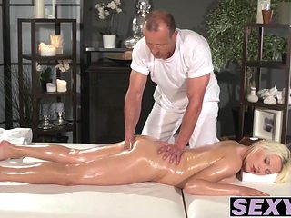 Blonde Ucy Shine with natural tits riding big stiff meat