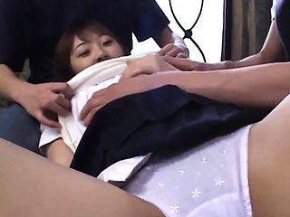 Young schoolgirl Yuka gets a hardcore fuck from two studs