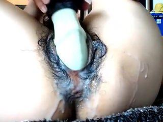 Very hairy cam whore dragon dildo penetration