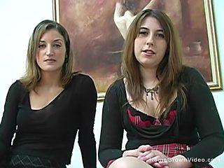 Aza And Lena Give A Double Handjob