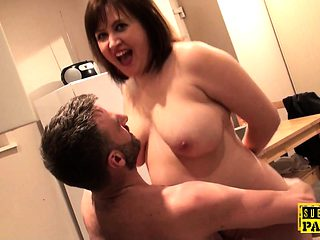Chubby british sub gagged while roughfucked