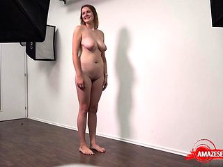 Natural tits amateur casting and cumshot
