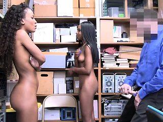 Two Lovely Ebony Shoplifter gets fuck in the office