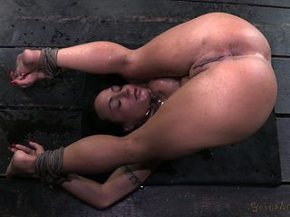 tied up chick gets big vibrator