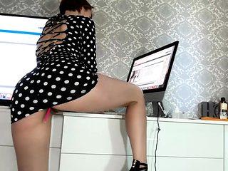 Upskirt masturbation and naughty amateur