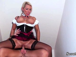 German Step Son Seduce Big Tit Mother in Lingerie to Fuck