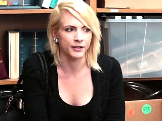 Blonde cutie pleased by security guard