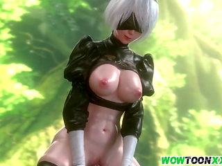 Big boobs 3D babes pussy hammered well