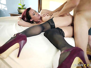 Milf Tory Lane with huge hooters plays with her milkers and fuck hole as she gives headjob to Tom...
