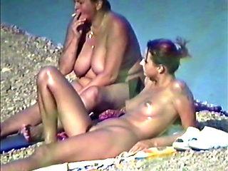 Andrea with Mam Nude on a Beach