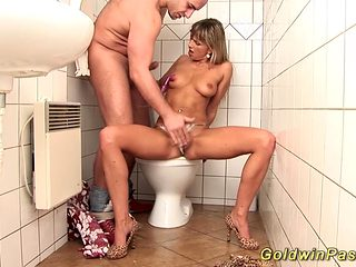 Hot flexible babe enjoys a crazy big cock fuck on the toiled