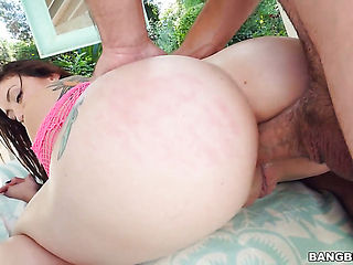 Brunette with big ass and bald pussy gets her back door opened by anal intruder