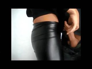 Guy cums over partner's leather pants