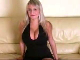 Blonde with big tits gives a handjob and fucks